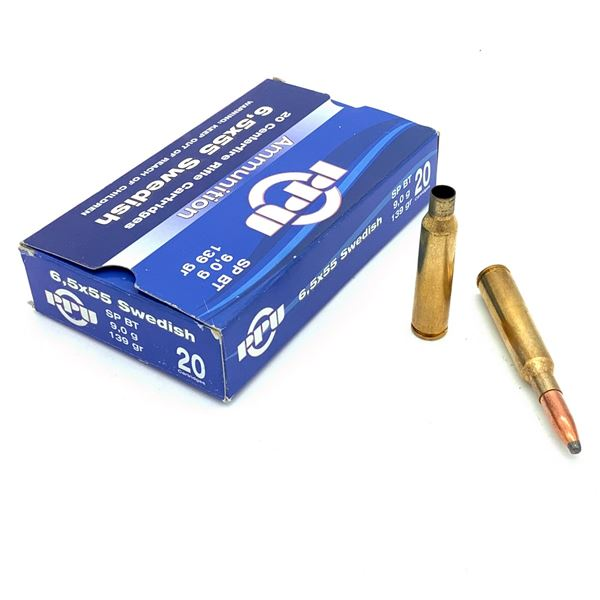 PPU 6.5 x 55 Ammunition & Casings - 16 Rnds & 4 Casings