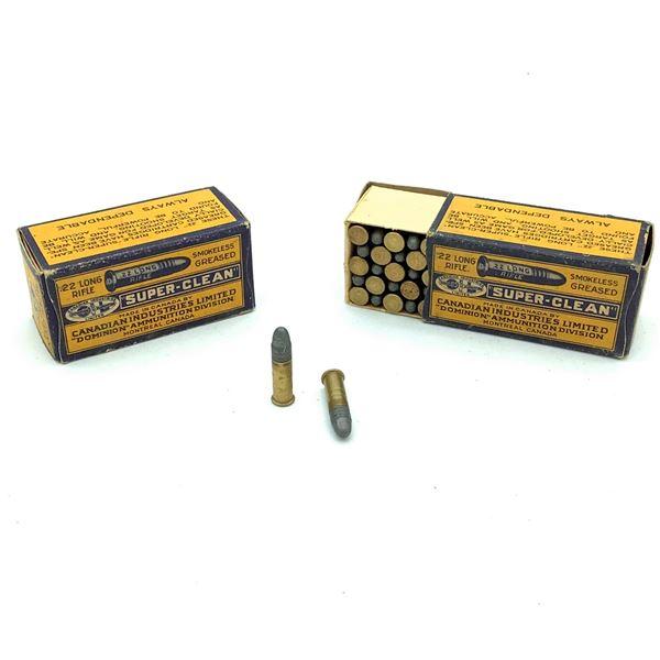 2 Boxes of Dominion 22 LR Super Clean Ammunition - 100 Rnds