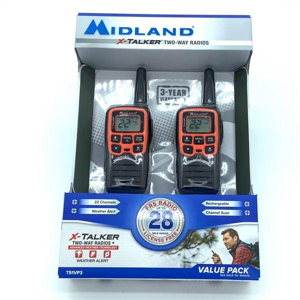 Midland XTalker Two-Way Radios with Weather Alert, New