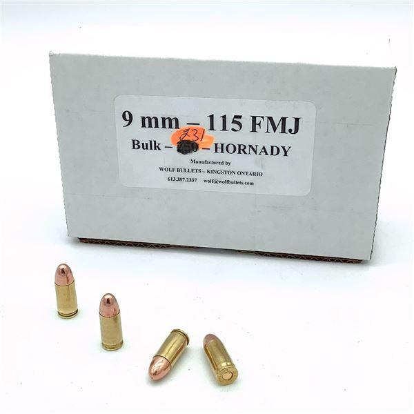 Wolf 9mm, 115 gr FMJ Ammunition - 231 Rnds