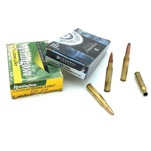 Assorted 270 Win Ammunition & Casings -  35 Rnds & 4 Casings
