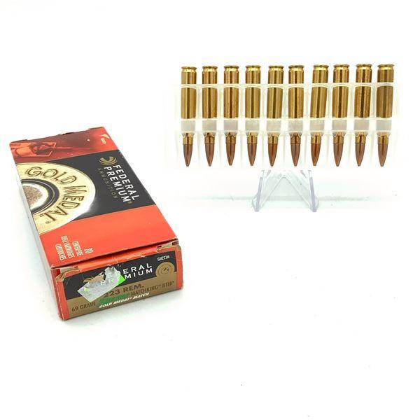 Federal Premium 223 Rem Gold Medal Match BTHP Ammunition - 20 Rnds