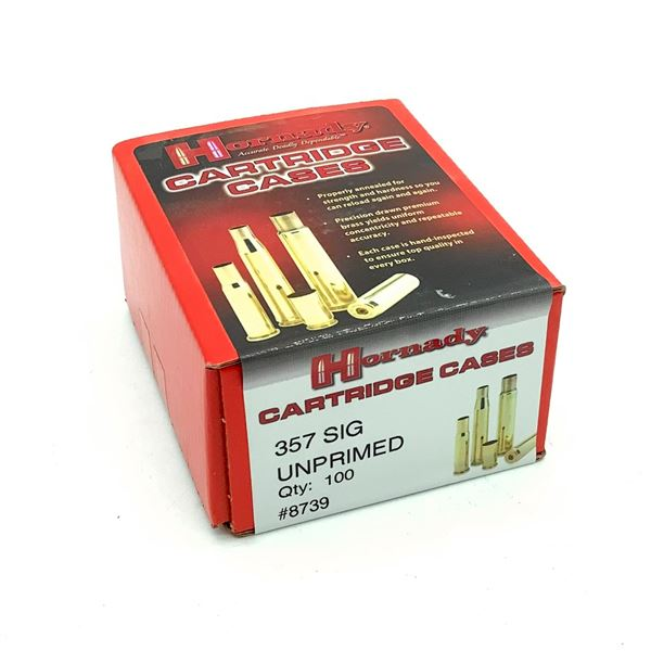 Hornady 357 SIG Unprimed Cartridge Cases - 100 Count, New