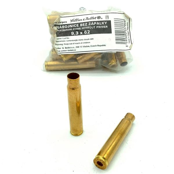 Sellier & Bellot 9.3 x 62 Unprimed Cartridge Cases  - 20 Count, New
