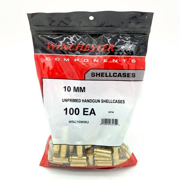 Winchester 10mm Unprimed Handgun Shell Cases - 100 Count, New