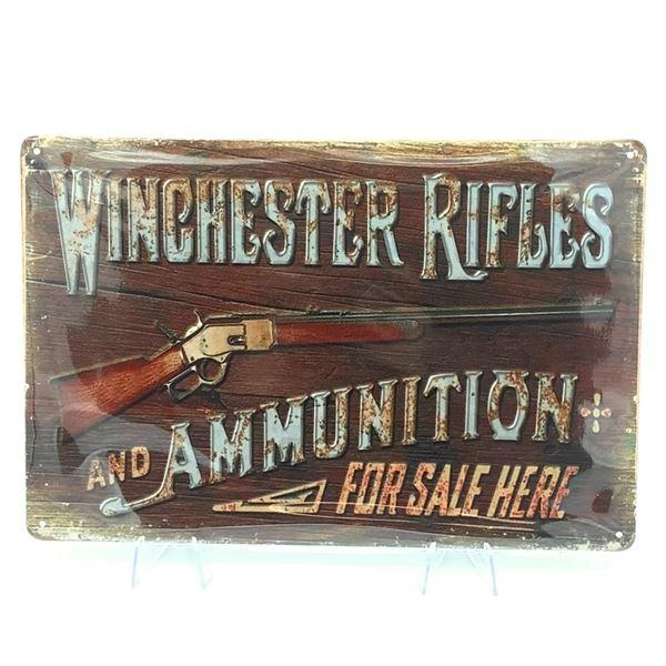 "Winchester Rifles Tin Sign 11 3/4"" x 8"""