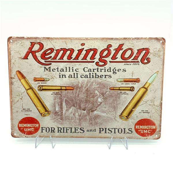 """Remington Tin Sign 11 3/4"""" x 8"""""""