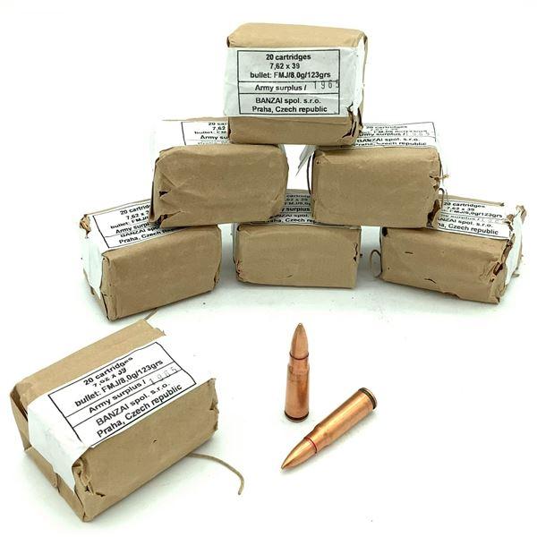 Army Surplus 7.62 x 39 FMJ Ammunition - 138 Rnds