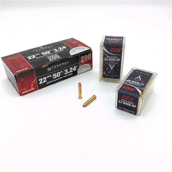 Assorted 22 WMR Ammunition - 298 Rnds