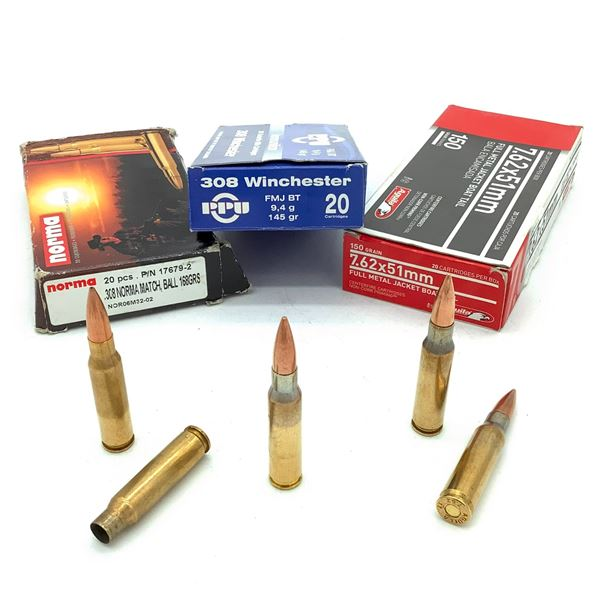 Assorted 7.62x51mm/ 308 Win Ammunition & Casings - 34 Rnds & 10 Casings