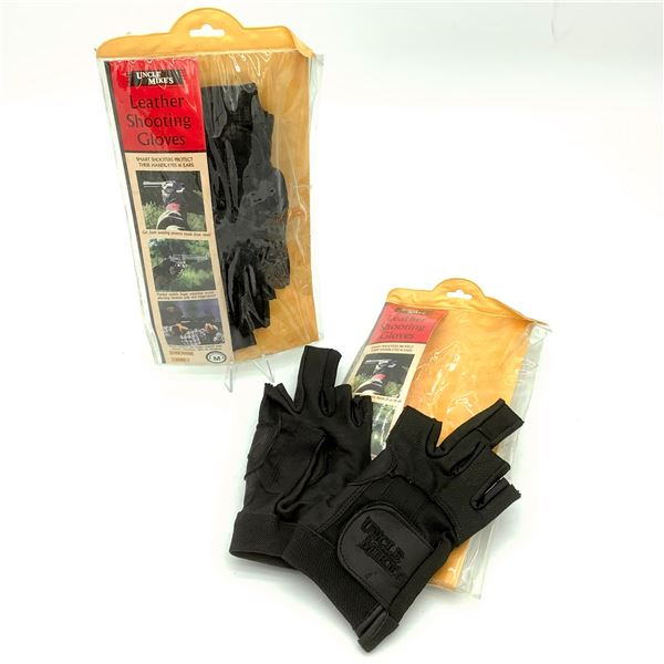2 Pairs of Uncle Mike's Leather Shooting Gloves M, New