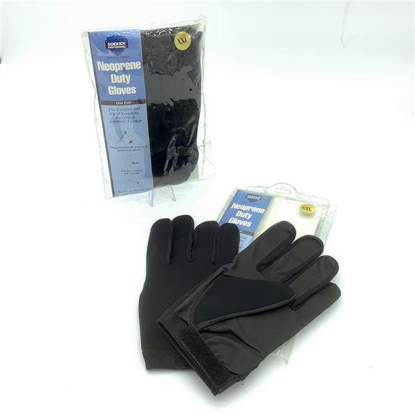 2 Pairs of Sidekick Professional Neoprene Duty Gloves XXL, New