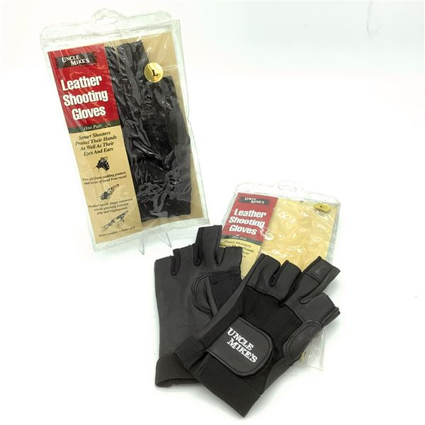 2 Pairs of Uncle Mike's Leather Shooting Gloves L, New