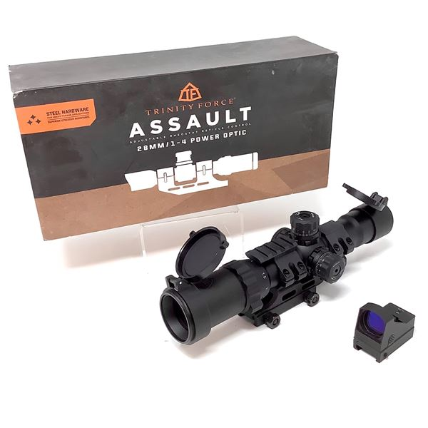 Trinity Force Assault Optic 1-4 X 28mm Scope with Weaver Mount, New