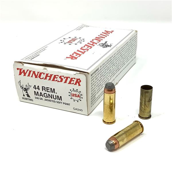 Winchester 44 Mag 240 Gr JSP Ammunition - 45 Rounds and 5 Cases