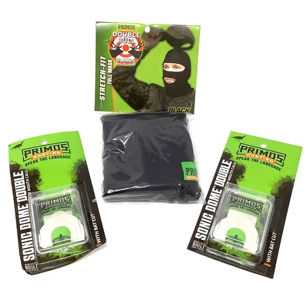 Primos Double Bull Mask, Black, and Sonic Dome Double Turkey Mouth Call X 2, New
