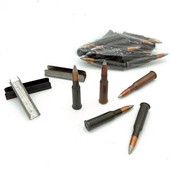 Assorted Loose 7.62 x 54R Light Ball Ammunition & Stripper Clips - 23 Rnds