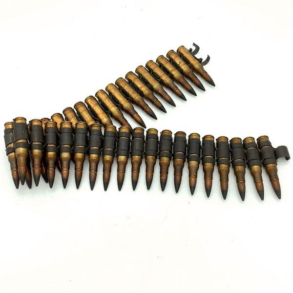 7.62 Nato Armor Piercing Ammunition on Belt - 35 Rnds