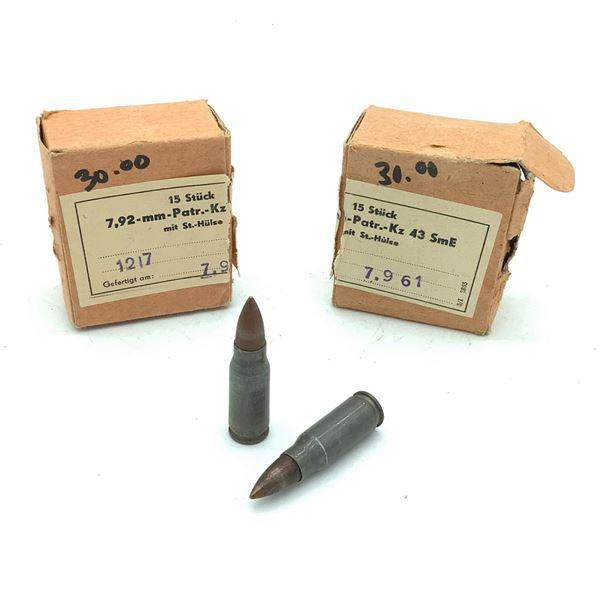 Surplus 7.92 Kurz Ammunition - 30 Rnds