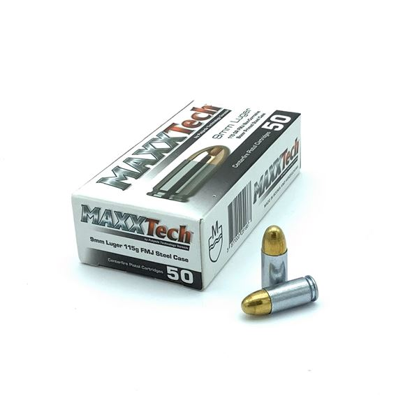 Maxxtech 9mm 115 Gr FMJ Ammunition, 50 Rounds