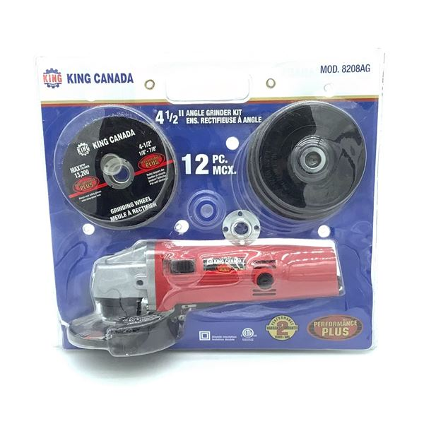 "King Canada 4.5"" Angle Grinder 12 pcs, New"