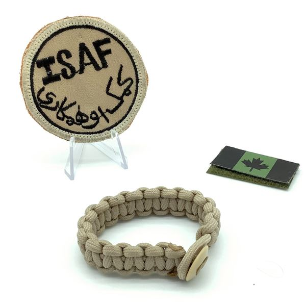 Patches (ISAF and Canadian Flag) X 2 and Paracord Bracelet