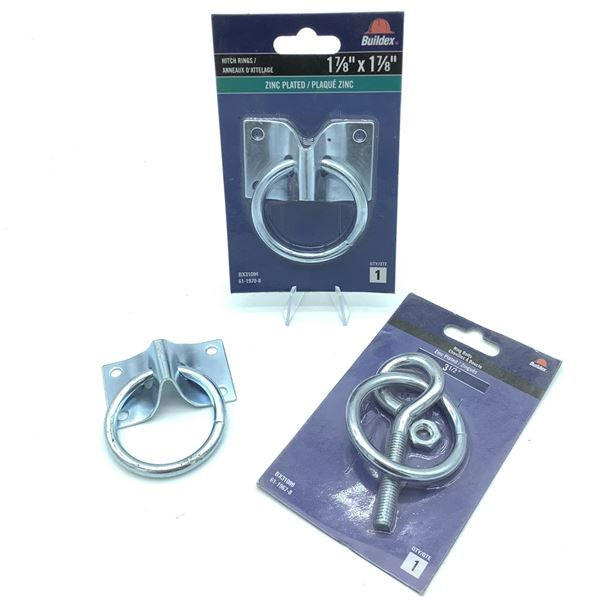 """Buildex Zinc Plated Hitch Ring, 1 7/8"""" X 1 7/8"""" X 2, New, Buildex 3 1/2"""" Ring Bolt, New"""