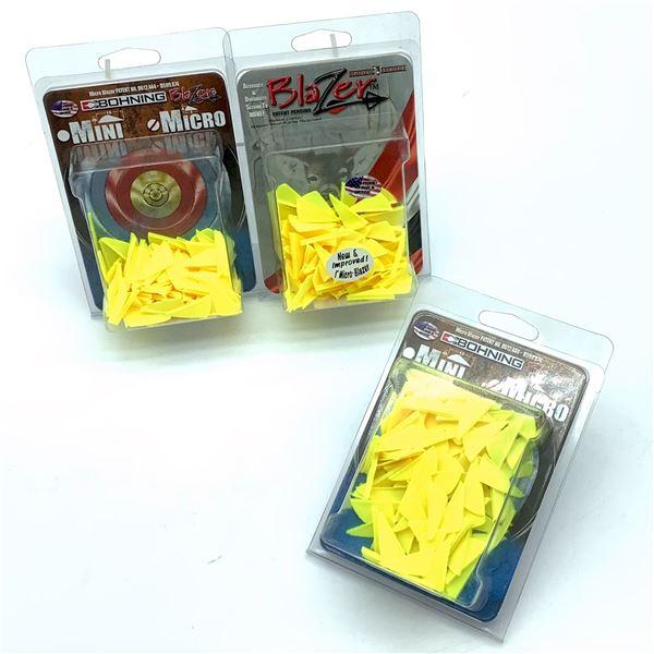 """Bohning Micro Blazer 1"""" Vanes, 100 Pk, Neon Yellow X 3, New"""
