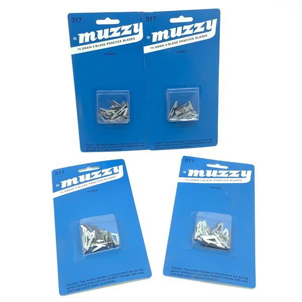Muzzy 75 Grain 3-Blade Practice Blades, 18 Pk X 4, New