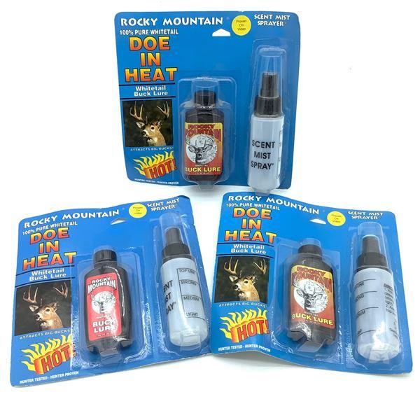 Rocky Mountain Doe-In-Heat Mist, 2 Fl Oz and Sprayer X 3, New