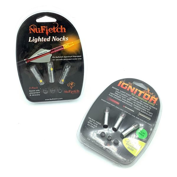 NuFletch Lighted Nocks for Spectrum Standard 3 Pk and 'Ignitor' for Crossbow Bolts.295 ID, New