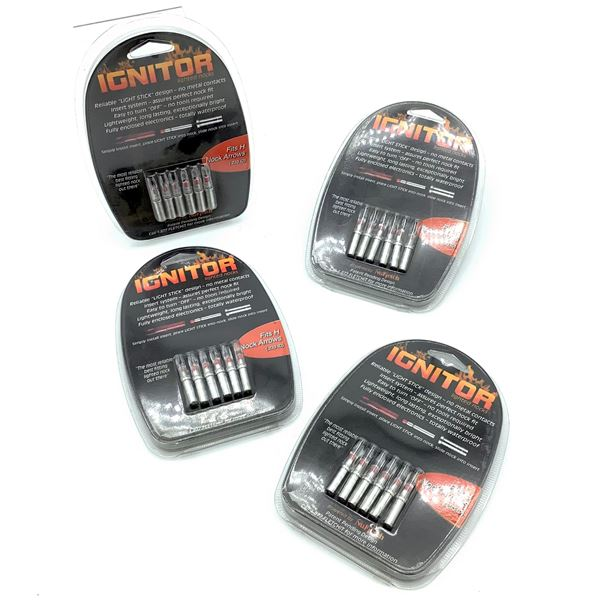 NuFletch 'Ignitor' Lighted Nocks for H Nock Arrows (.233 ID) 6 Pk X 4, New
