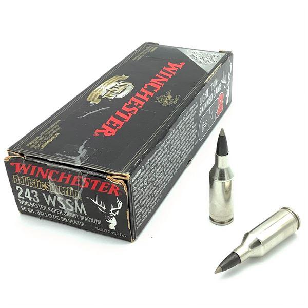 Winchester Ballistic Silvertip 243 WSSM 95 Grain Ammunition, 20 Rounds