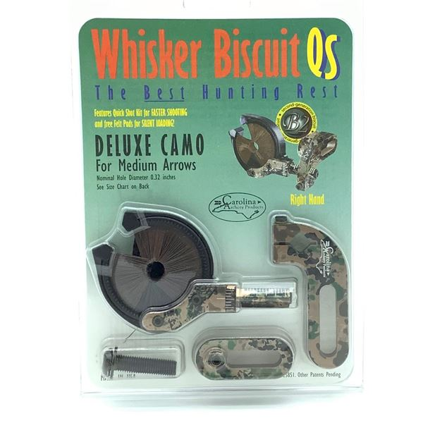 Carolina Whisker Biscuit QS Deluxe Camo Rest for Medium Arrows, RH, New