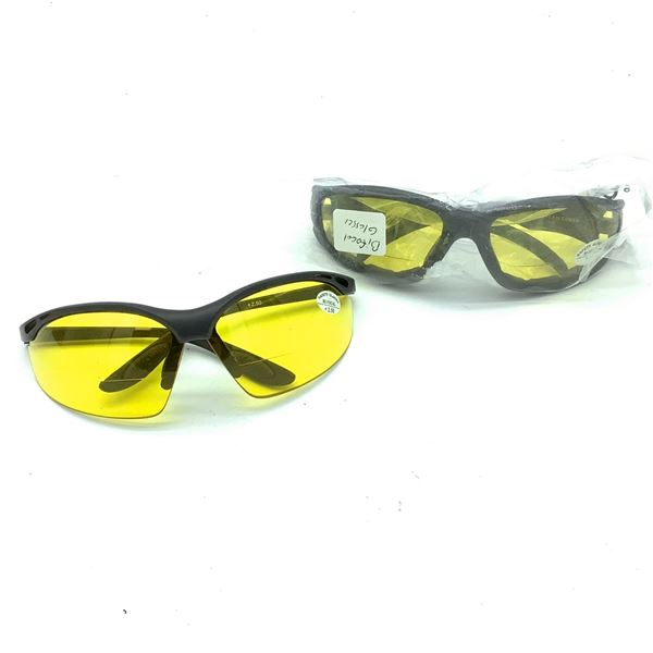 2 Pairs of Yellow Bi-Focal Safety Glasses