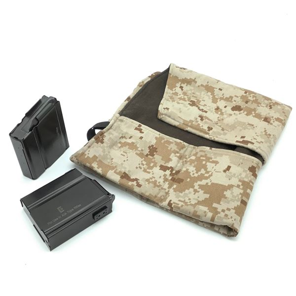 2 x Elander A1A 308 Magazines, 10 Round Capacity. Cloth Magazine Roll in Camo
