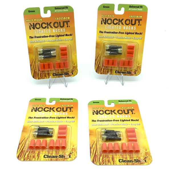 Clean-Shot Nock Out Lighted Nocks, Universal Fit  3 Pk X 4 Green, New