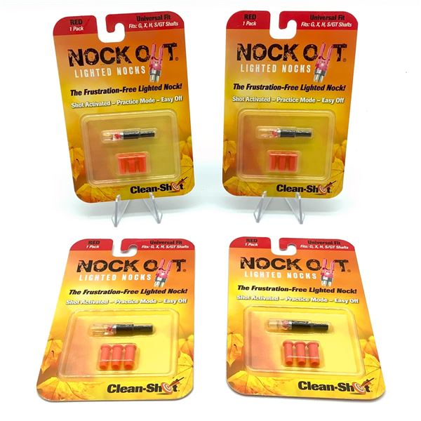 Clean-Shot Nock Out Lighted Nocks, Universal Fit X 4 Red, New