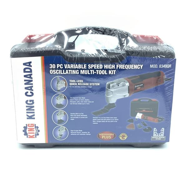 King Canada 30 Pc Variable Speed High Frequency Oscillating Multi-Tool Kit, New