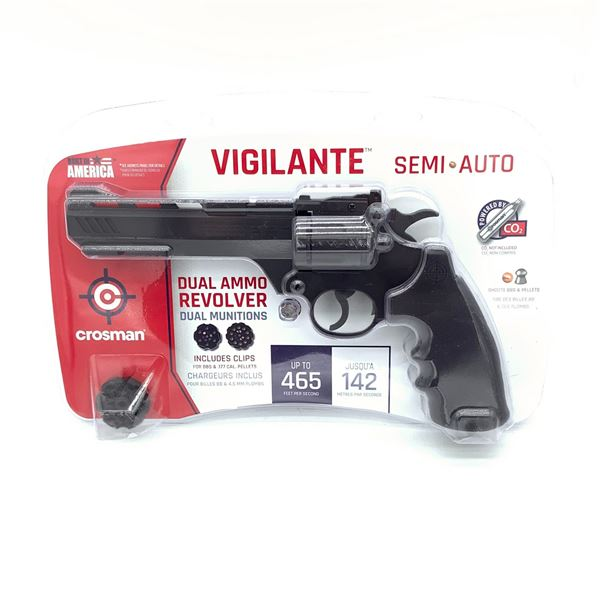 Crosman Vigilante Semi-Auto CO2 Airgun, Dual Ammo Revolver, New