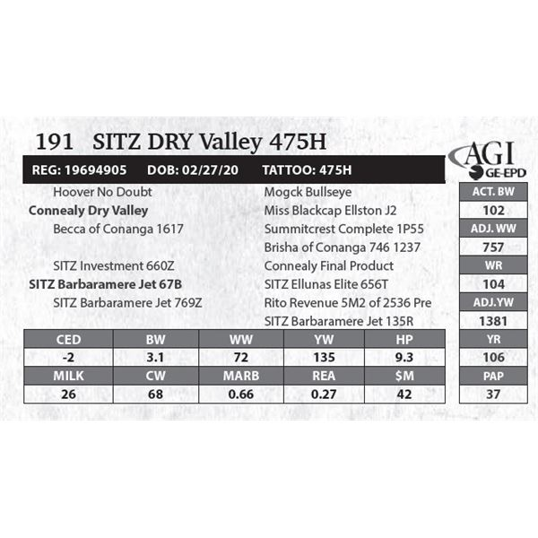 SITZ Dry Valley 475H