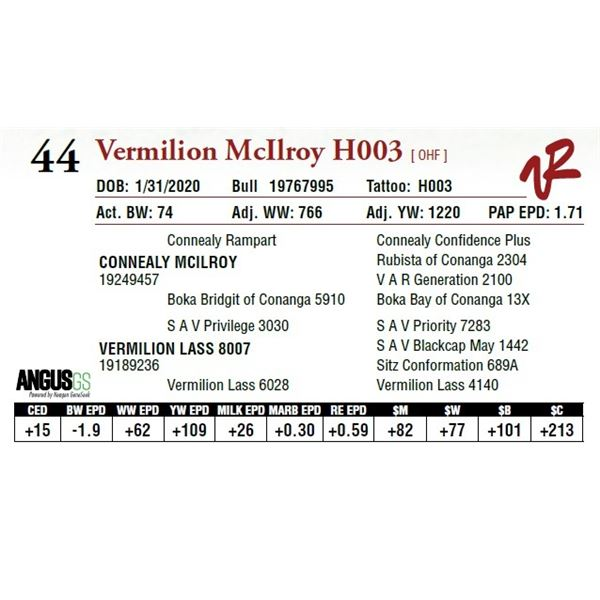 VERMILION MCILROY H003