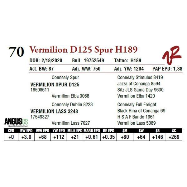 VERMILION D125 SPUR H189