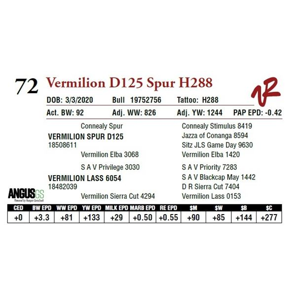 VERMILION D125 SPUR H288