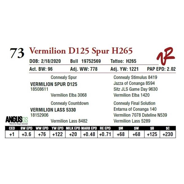 VERMILION D125 SPUR H265
