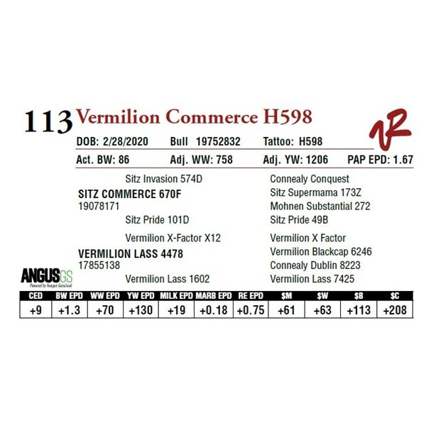 VERMILION COMMERCE H598