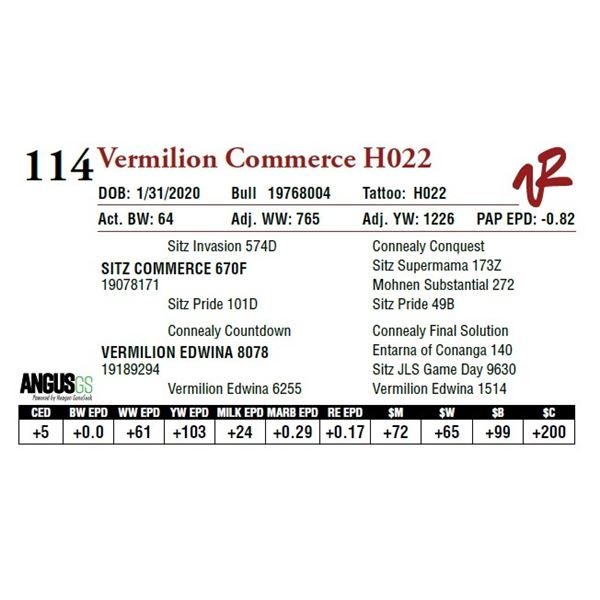 VERMILION COMMERCE H022