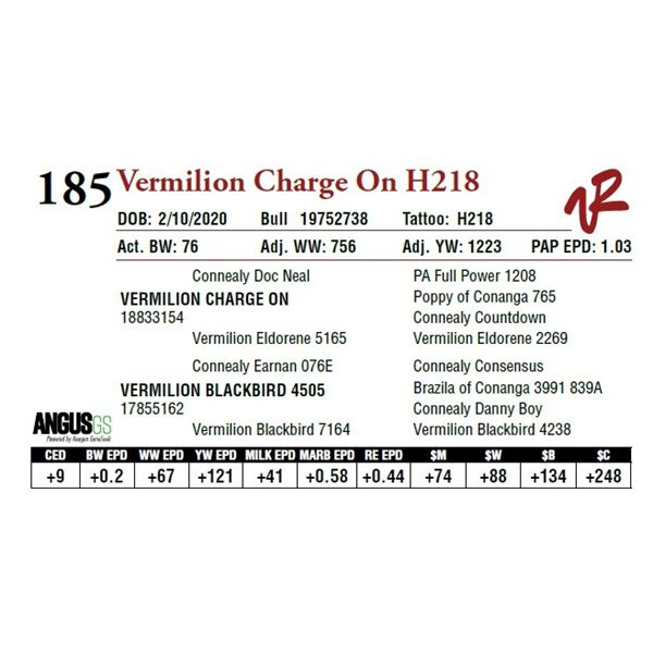 VERMILION CHARGE ON H218
