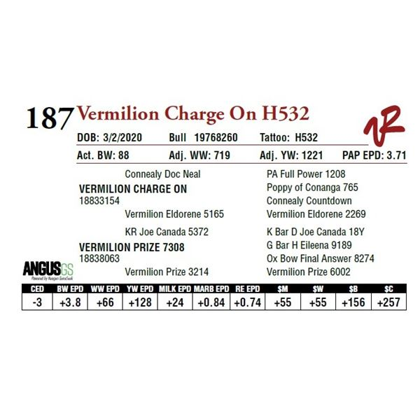VERMILION CHARGE ON H532