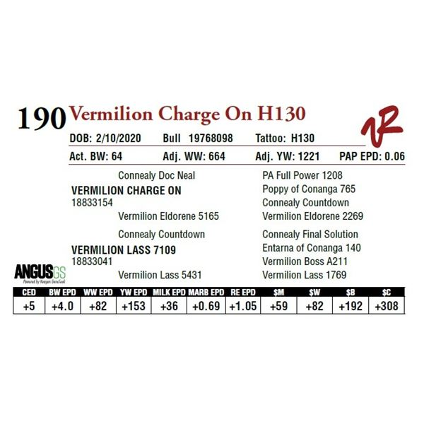 VERMILION CHARGE ON H130